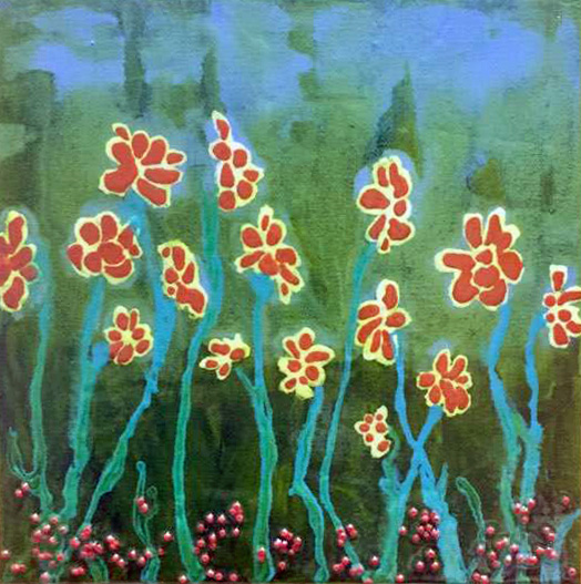 Small spring flowers andre kuhne small acrylic background with fluid acrylic runs for flowers shapes and stems mightylinksfo